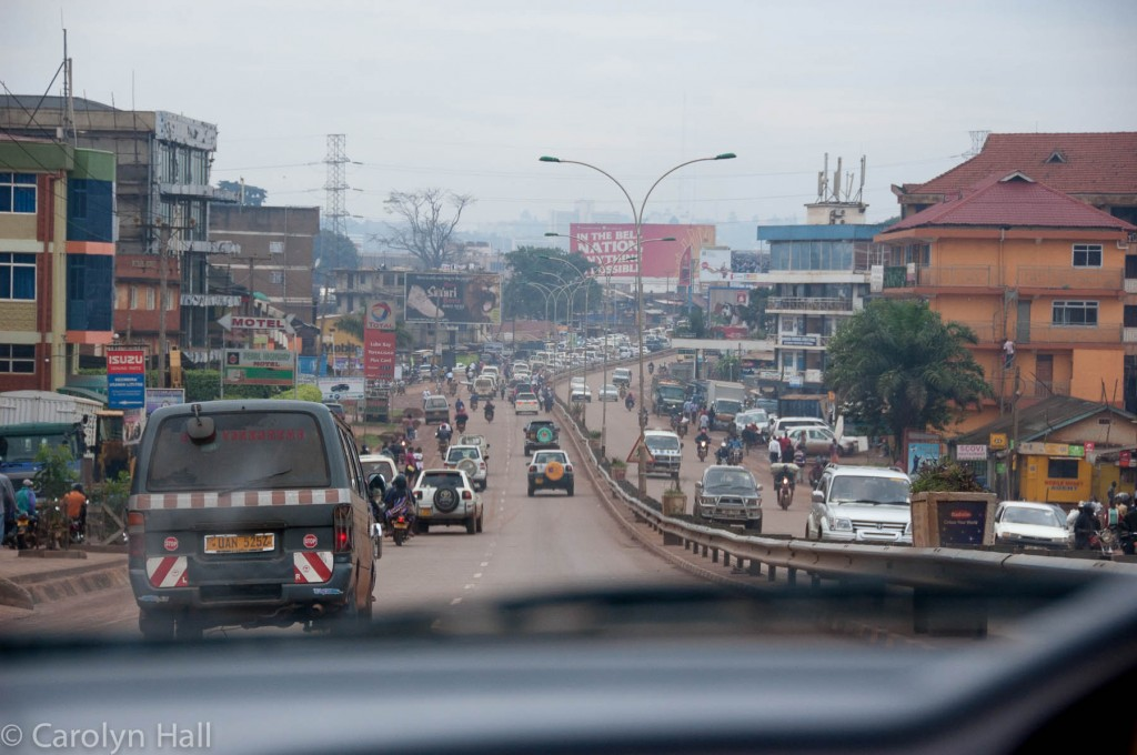 The outskirts of Kampala and the congestion begins