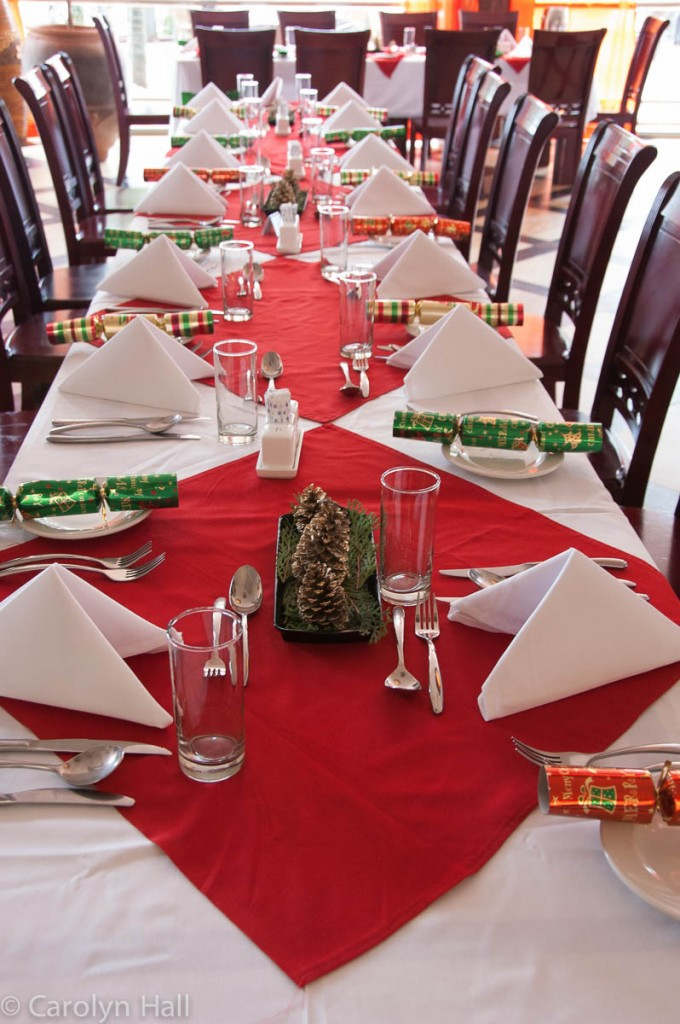 The festive dining tables